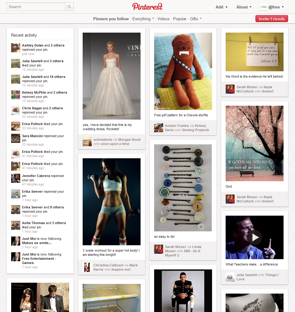 Example of what you would see on your main Pinterest page (stream).