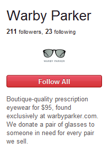 Warby Parker Pinterest follower numbers show how new Pinterest is