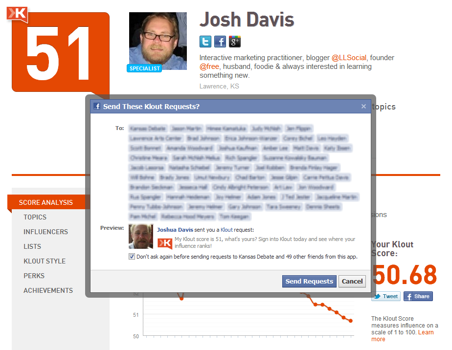 Klout Page wants to connect with Facebook