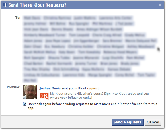 Klout Facebook Request via Twitter Email