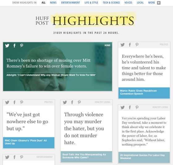 "HuffPost ""Highlights"" a new way to view articles."