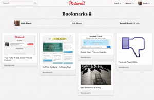 Secret Pinterest boards look the same as normal boards with the exception of the padlock icon.
