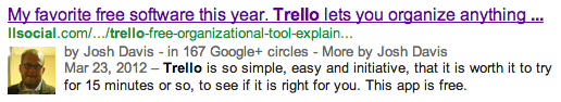 Google Author Tag in Search Results Example